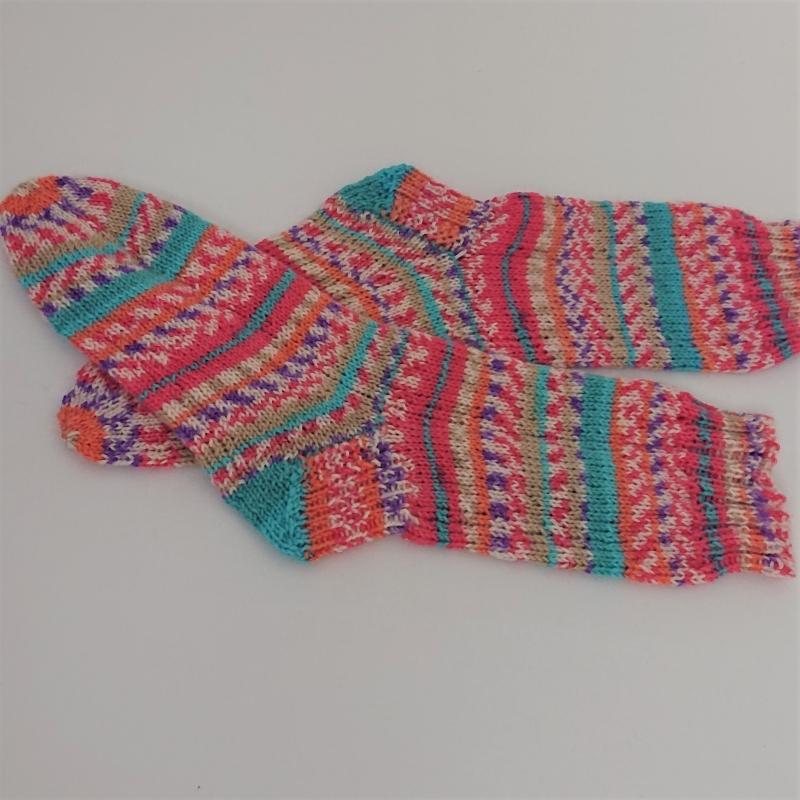 Kleinesbild - Gestrickte Socken in rosa türkis , Gr. 36/37, Wollsocken, Kuschelsocken, handgestrickt, la piccola Antonella