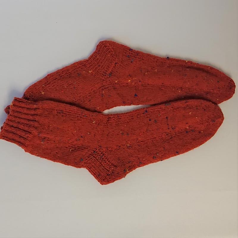 Kleinesbild - Gestrickte Socken für den Mann in orange bunt, Gr. 42/43, Wollsocken, Kuschelsocken, handgestrickt, la piccola Antonella