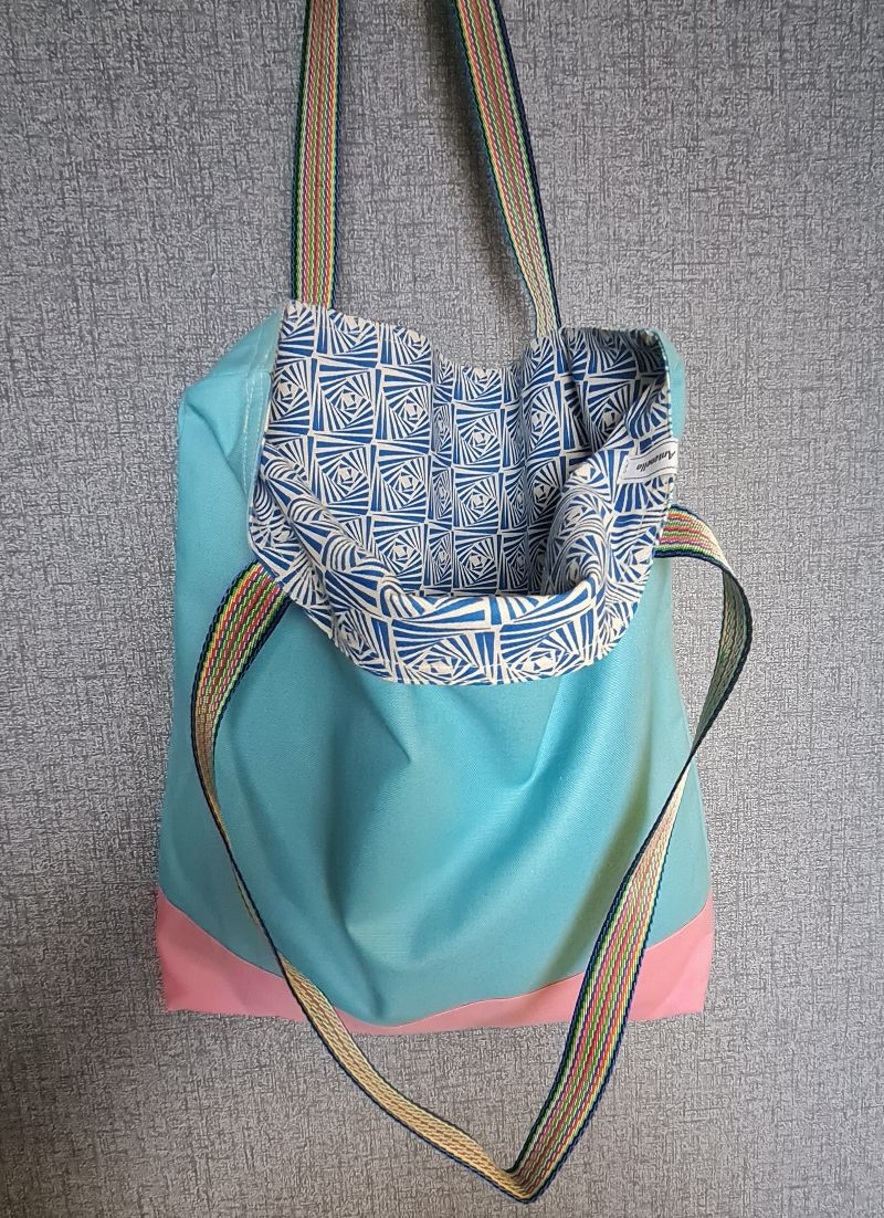 Kleinesbild - Einfacher Shopper in türkis rosa , Einkaufstasche, Beutel, Handmade by la piccola Antonella