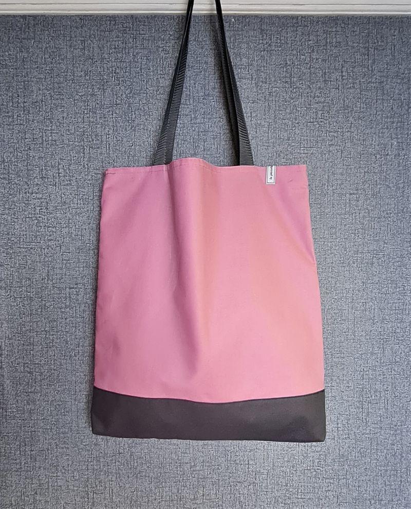 - Einfacher Shopper in rosa grau, Einkaufstasche, Beutel, Handmade by la piccola Antonella   - Einfacher Shopper in rosa grau, Einkaufstasche, Beutel, Handmade by la piccola Antonella