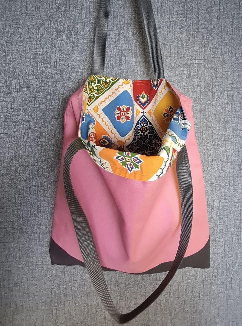 Kleinesbild - Einfacher Shopper in rosa grau, Einkaufstasche, Beutel, Handmade by la piccola Antonella