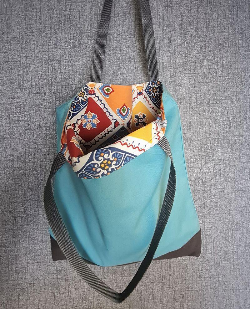 Kleinesbild - Einfacher Shopper in türkis grau, Einkaufstasche, Beutel, Handmade by la piccola Antonella