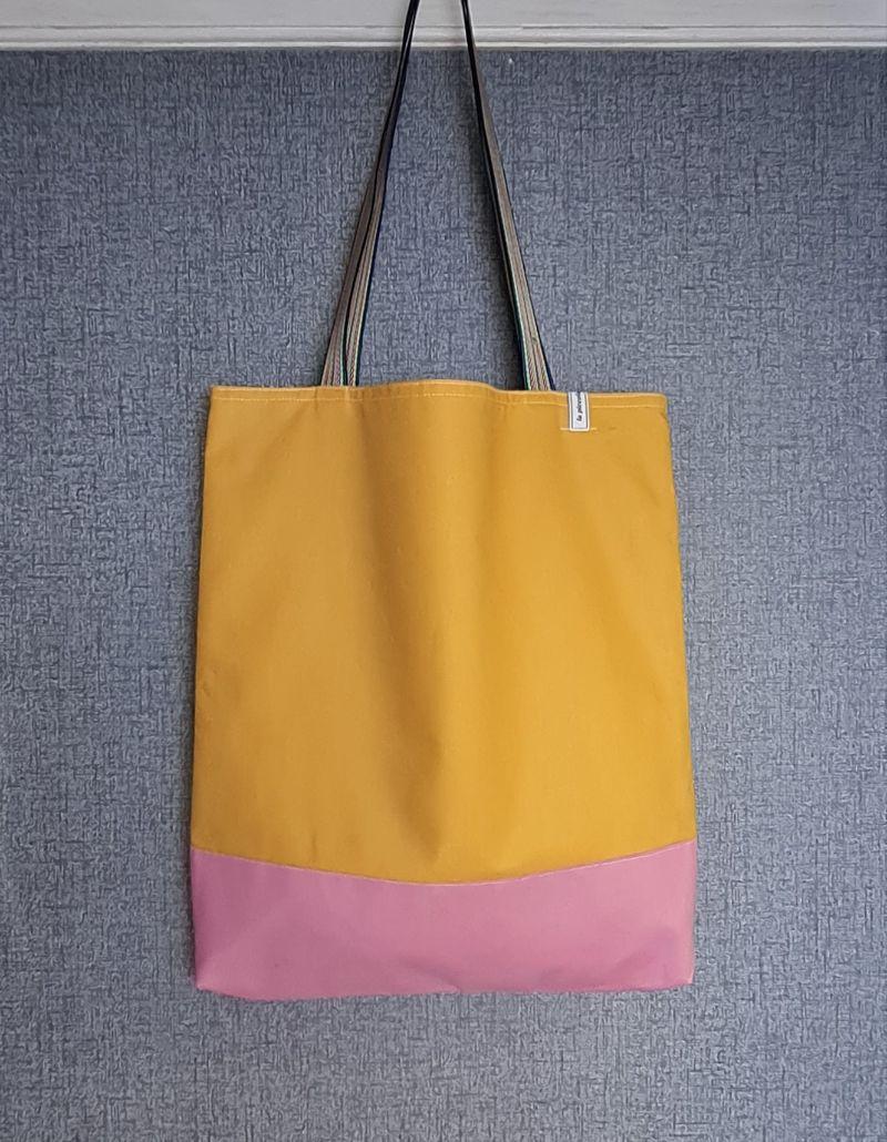 - Einfacher Shopper in gelb rosa, Einkaufstasche, Beutel, Handmade by la piccola Antonella   - Einfacher Shopper in gelb rosa, Einkaufstasche, Beutel, Handmade by la piccola Antonella