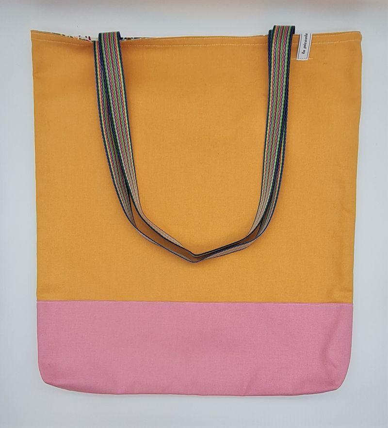 Kleinesbild - Einfacher Shopper in gelb rosa, Einkaufstasche, Beutel, Handmade by la piccola Antonella