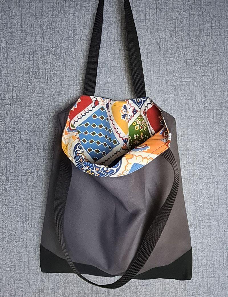 Kleinesbild - Einfacher Shopper in grau schwarz, Einkaufstasche, Beutel, Handmade by la piccola Antonella