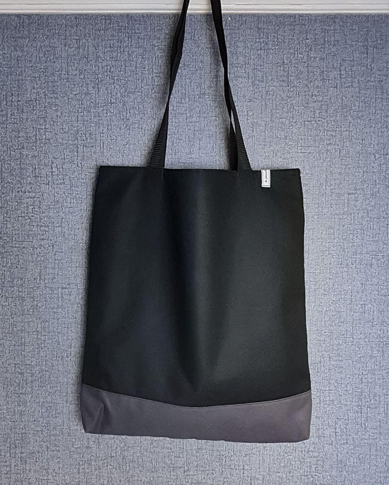 - Einfacher Shopper in schwarz grau, Einkaufstasche, Beutel, Handmade by la piccola Antonella     - Einfacher Shopper in schwarz grau, Einkaufstasche, Beutel, Handmade by la piccola Antonella