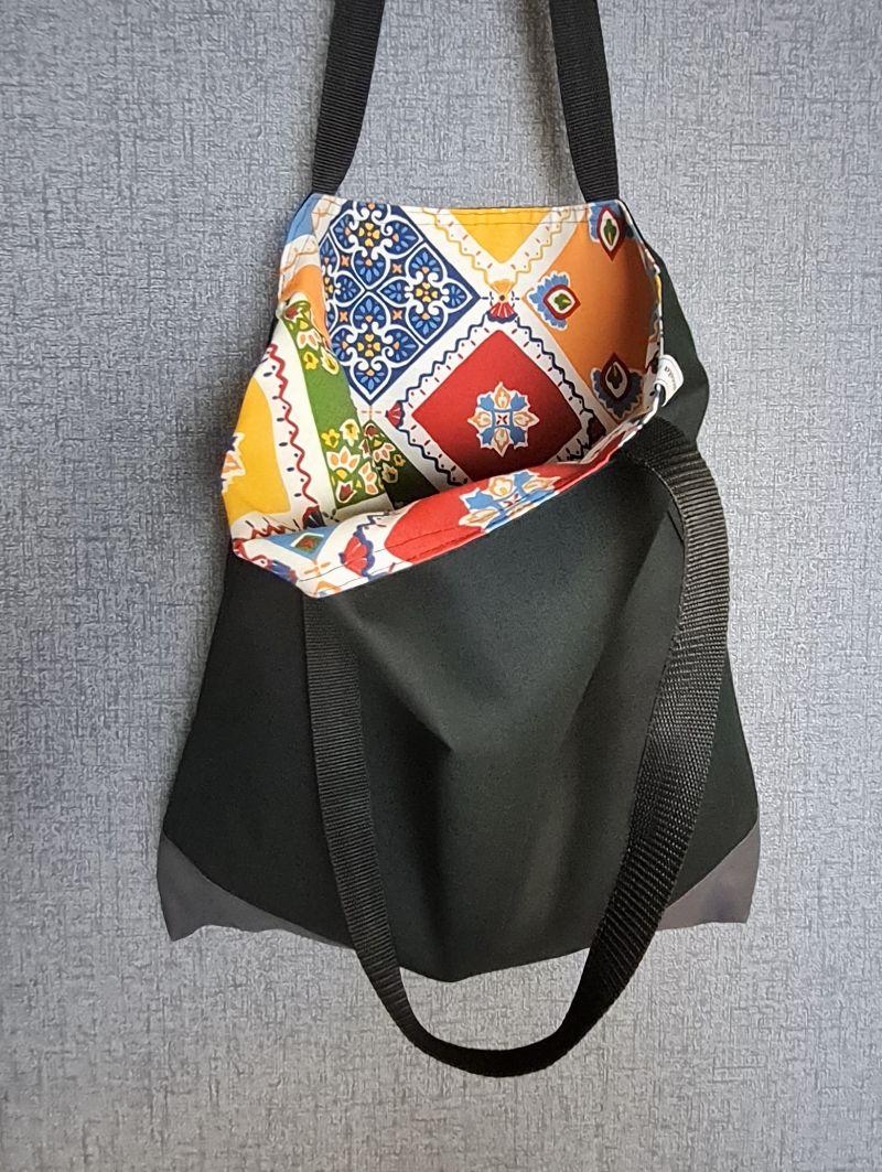 Kleinesbild - Einfacher Shopper in schwarz grau, Einkaufstasche, Beutel, Handmade by la piccola Antonella