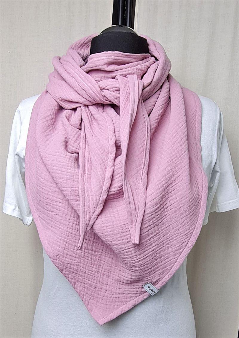Kleinesbild - Dreieckstuch aus Musselinstoff, Musselintuch in rosa, leichter Schal, handmade von la piccola Antonella