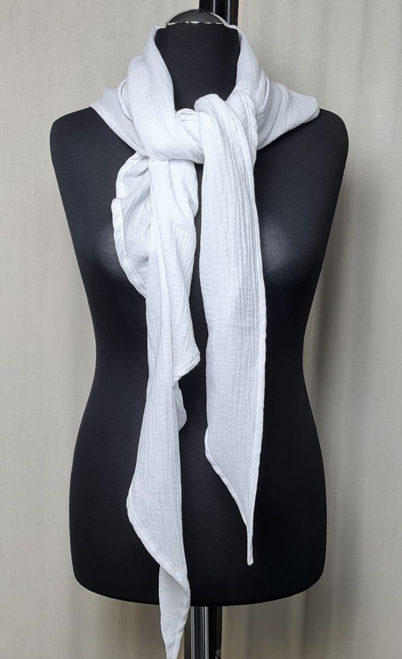 Kleinesbild - Dreieckstuch aus Musselinstoff, Musselintuch in weiß, leichter Schal, handmade von la piccola Antonella