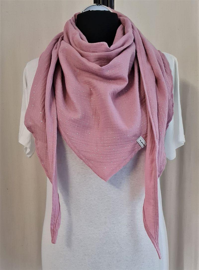 - Dreieckstuch aus Musselinstoff in rosa mit silbernen Punkten, Musselintuch, leichter Schal, handmade von la piccola Antonella - Dreieckstuch aus Musselinstoff in rosa mit silbernen Punkten, Musselintuch, leichter Schal, handmade von la piccola Antonella
