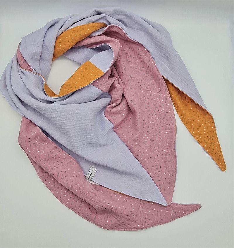 - Dreieckstuch aus Musselinstoff in gelb rosa hellblau, Musselintuch, leichter Schal, handmade von la piccola Antonella - Dreieckstuch aus Musselinstoff in gelb rosa hellblau, Musselintuch, leichter Schal, handmade von la piccola Antonella