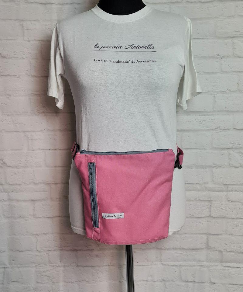 Kleinesbild - Bauchtasche in rosa, tragbar auch als Crossbag, Umhängetasche, handmade by la piccola Antonella