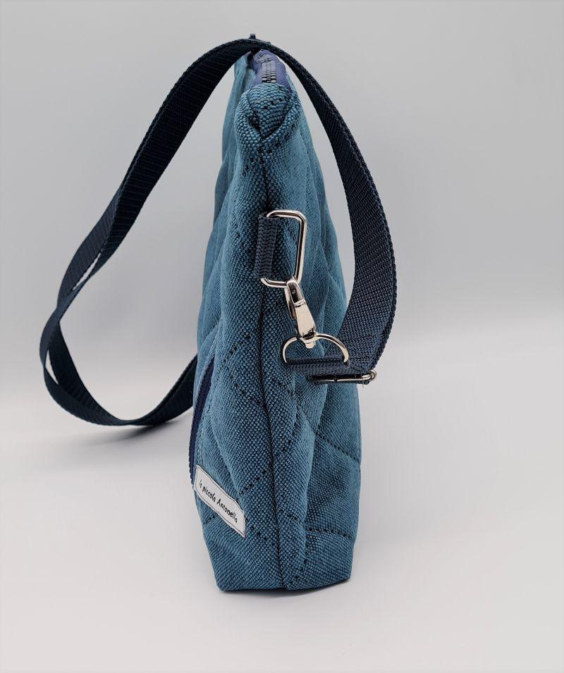Kleinesbild - Umhängetasche kleiner Shopper aus Steppstoff in petrol, handmade by la piccola Antonella