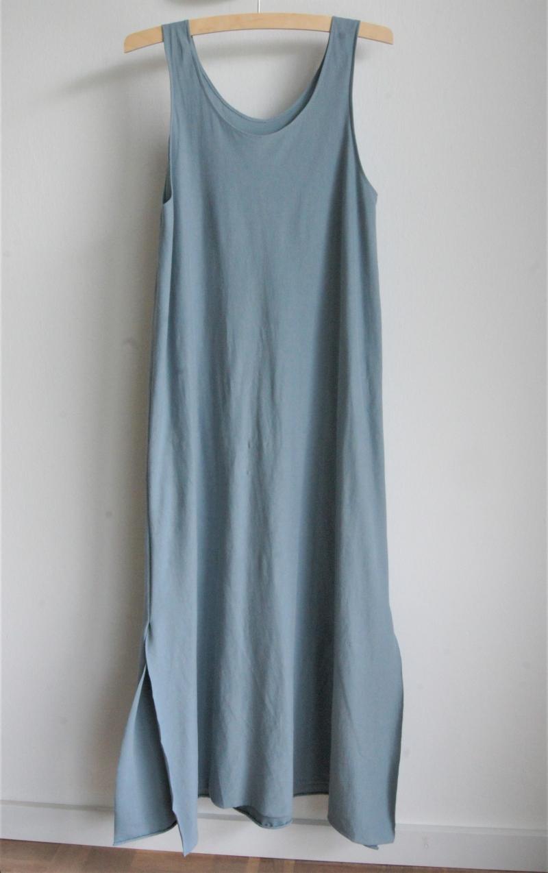 langes sommerkleid aus angenehm weichem bio-baumwoll-jersey * hellblau *  größe 38/40
