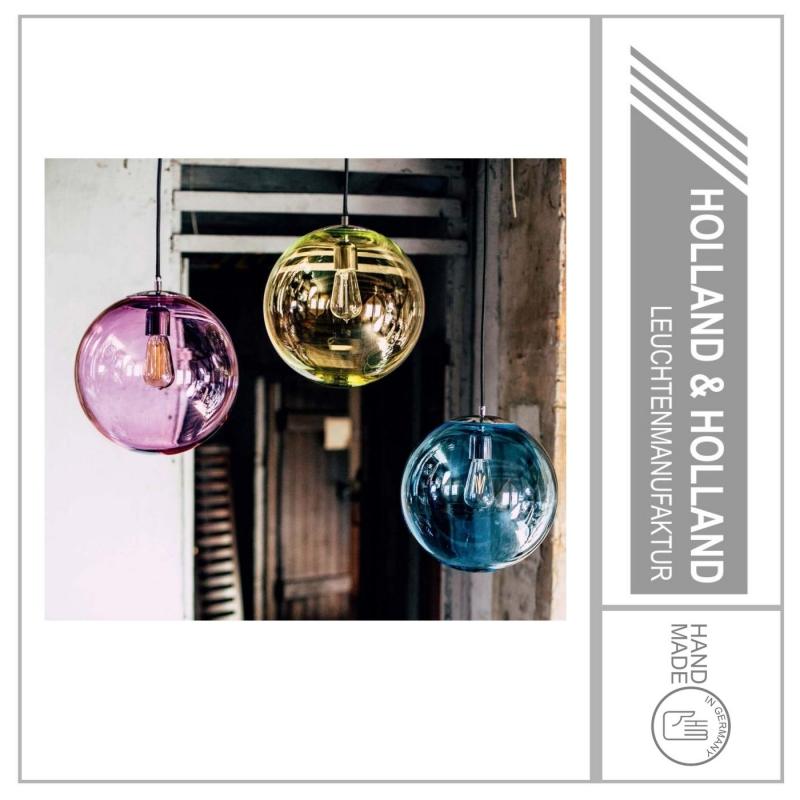 Kleinesbild - Pendelleuchte Glas Kristall Violett Ø180mm, Chrom im zeitlosen Design, mundgeblasen und handgefertigt - Holland&Holland Leuchtenmanufaktur
