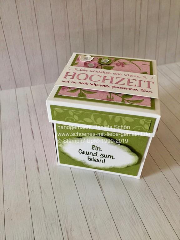 - Explosionsbox in grün/beere zur Hochzeit (10 x 10 cm) - Explosionsbox in grün/beere zur Hochzeit (10 x 10 cm)