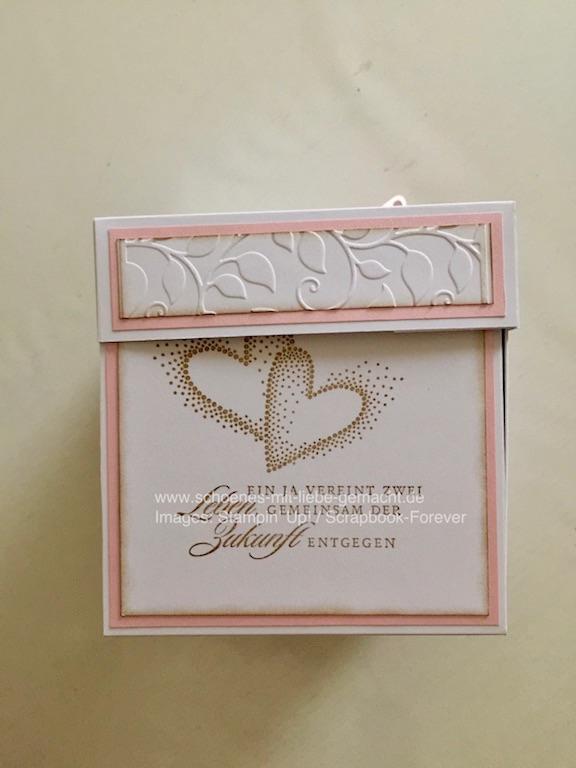 Kleinesbild - Explosionsbox in rosa/weiß zur Hochzeit (10 x 10 cm)
