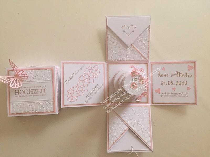 - Explosionsbox in rosa/weiß zur Hochzeit (10 x 10 cm) - Explosionsbox in rosa/weiß zur Hochzeit (10 x 10 cm)