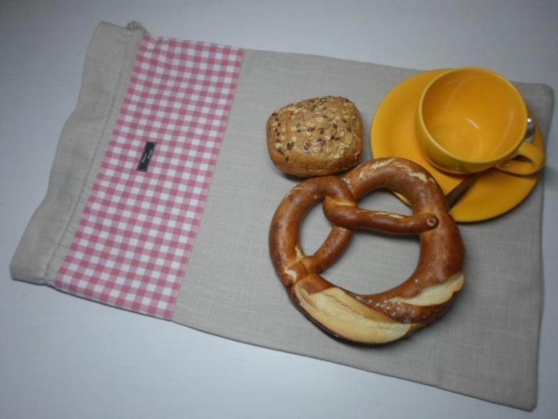 - Brotbeutel *de luxe* Leinen natura/ rosa von friess-design mit Kordel - Brotbeutel *de luxe* Leinen natura/ rosa von friess-design mit Kordel