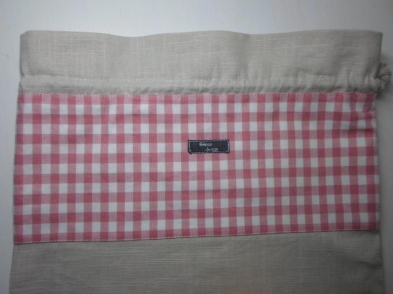Kleinesbild - Brotbeutel *de luxe* Leinen natura/ rosa von friess-design mit Kordel