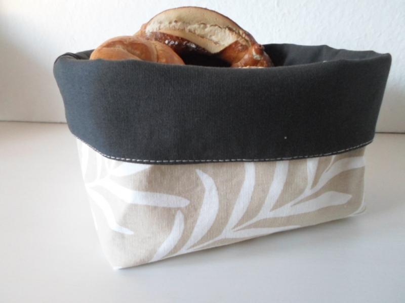 Kleinesbild - Stoffkorb/ Brotkorb *Bolzano* Baumwolle schwarz/ beige mittel, sehr fest von friess-design