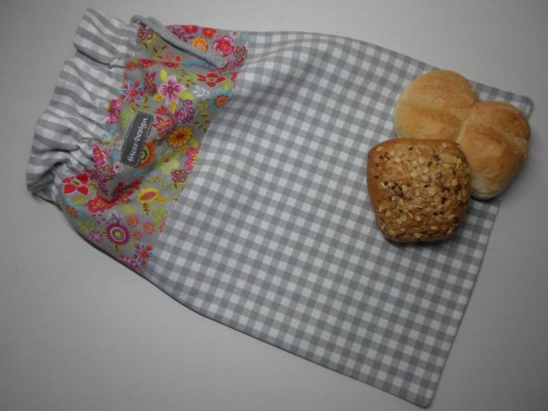 Kleinesbild - Brotbeutel *speciale* Baumwolle grau-kariert/ bunt von friess-design mit Kordel