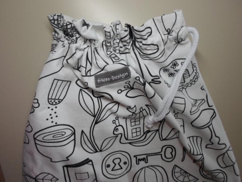 Kleinesbild - Wäschebeutel/ Turnbeutel *Giocco* Baumwolle von friess-design mit Baumwollkordel