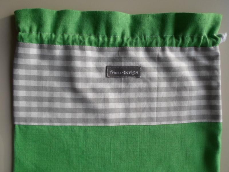 Kleinesbild - Brotbeutel *de luxe* Leinen grün/ grau-weiß kariert von friess-design mit Baumwollkordel
