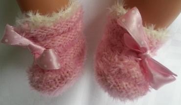 Kleinesbild - Puppenschühchen handgestrickt in rosa für Puppenfüsse von 5 bis 7 cm