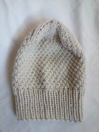 Kleinesbild - Wollmütze handgestrickt Beanie  in beige Größe M für Frauen und Männer