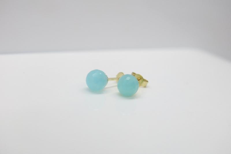 Kleinesbild - So schön zart☆ leuchtender Ohrstecker in Sea-Blue aus 333er Gold