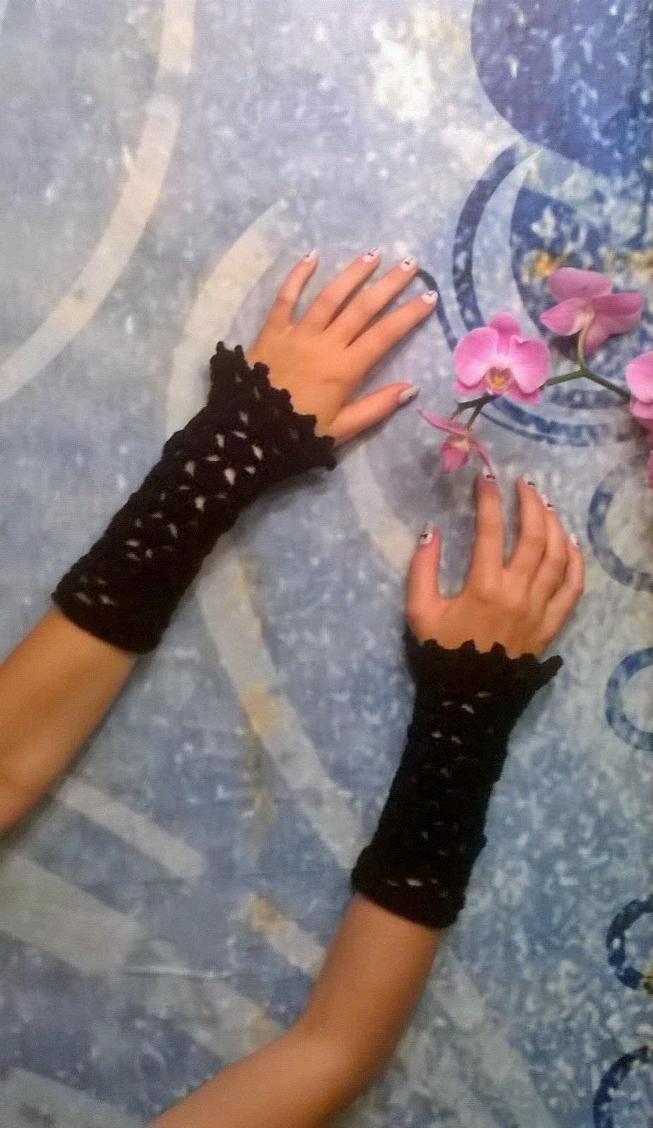 - Pulswärmer Handstulpen Armstulpen gehäkelt -Gr. XS / S / M / L- schwarz  - Pulswärmer Handstulpen Armstulpen gehäkelt -Gr. XS / S / M / L- schwarz