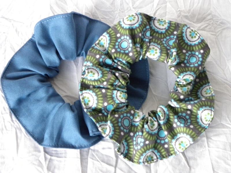 Kleinesbild - Haargummi-Set 3 St. Baumwolle Jeansblau mit Sternchen, Blau und Türkis-Grün gemustert