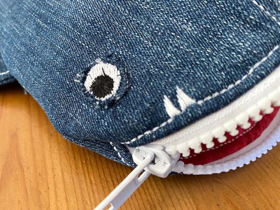Kleinesbild - Stifte-Mäppchen WalHai_Upcycling_Jeanstasche mit Reißverschluss_23 x 14 x 7cm Taschengröße ohne Flossen