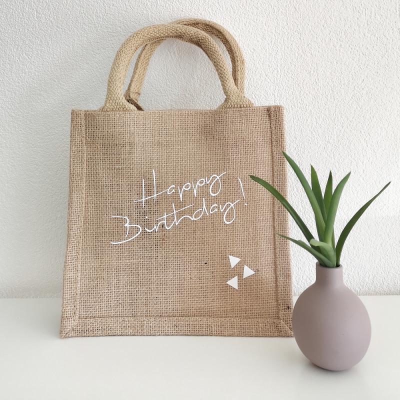 - Jutetasche, Jutebeutel Geschenktasche Happy Birthday nachhaltige Geschenkverpackung - Jutetasche, Jutebeutel Geschenktasche Happy Birthday nachhaltige Geschenkverpackung