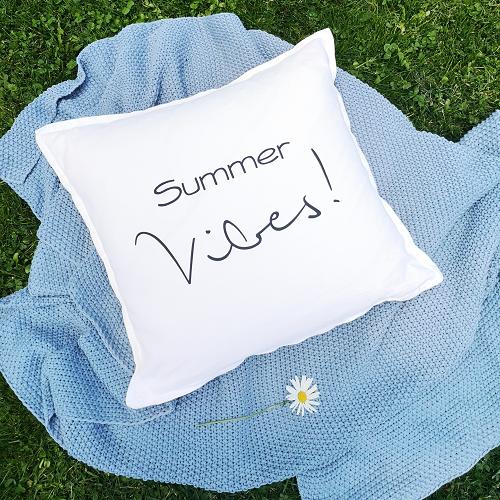Kleinesbild - Bügelbild, Aufbügler für Kissenbezug Summer Vibes, Kissen, Kissenhülle, Geschirrtuch, schwarz oder weiß