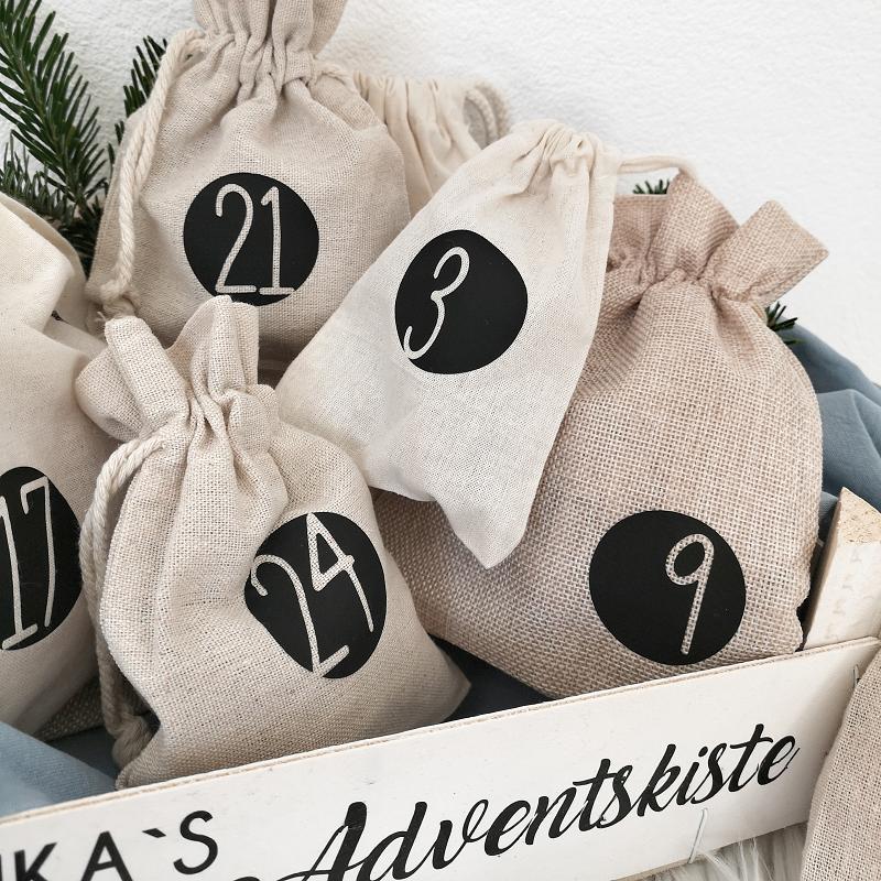 Kleinesbild - Zahlen für Adventkalender als Bügelbilder, Zahlen 1-24 , für Adventskalender- Säckchen