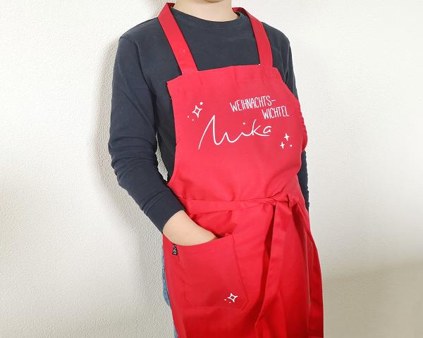 Kleinesbild - personalisierte rote Kinderschürze mit Namen, Weihnachtswichtel, Weihnachtsgeschenk, Geburtstagsgeschenk für Kinder