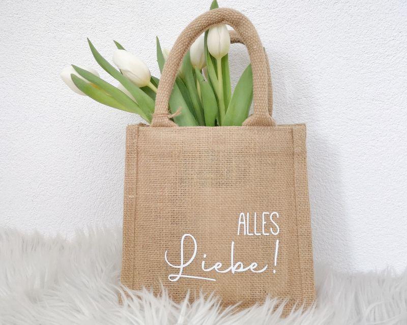 - Jutetasche, Geschenktasche mit Aufschrift Alles Liebe, nachhaltige Geschenkverpackung - Jutetasche, Geschenktasche mit Aufschrift Alles Liebe, nachhaltige Geschenkverpackung