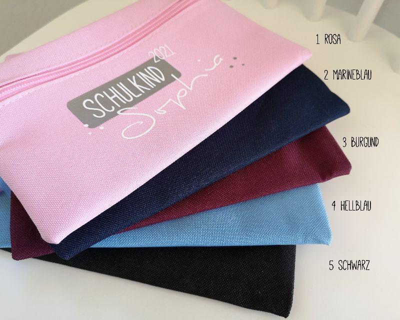 Kleinesbild - personalisiertes Stiftemäppchen, in 5 verschiedenen Farben erhältlich, Etui, Schlampermäppchen, Schulkind 2021, Einschulung
