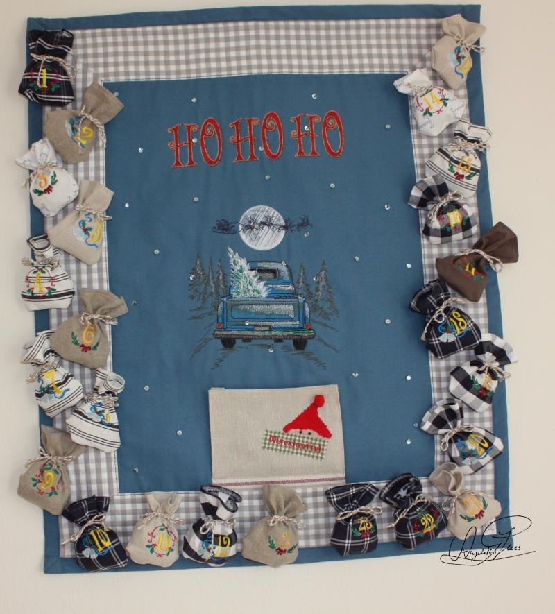 Kleinesbild - Adventskalender/ Weihnachtskalender aus Stoff, mit Stoffsäckchen zum Befüllen- gequilteter Wandbehang, Unikat