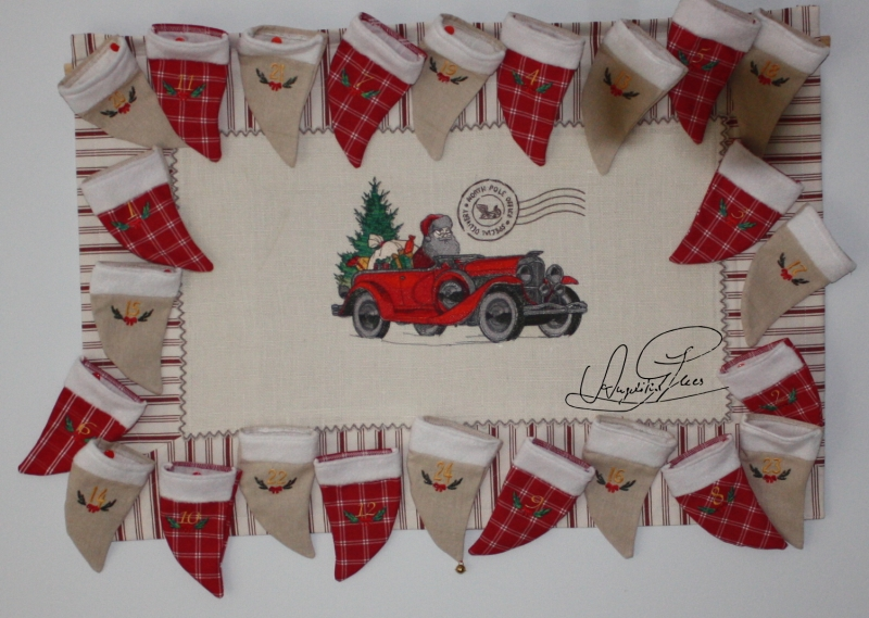 - handgefertigter Adventskalender/ Weihnachtskalender/ Wandbehang  aus Stoff, zum Befüllen, Unikat - handgefertigter Adventskalender/ Weihnachtskalender/ Wandbehang  aus Stoff, zum Befüllen, Unikat
