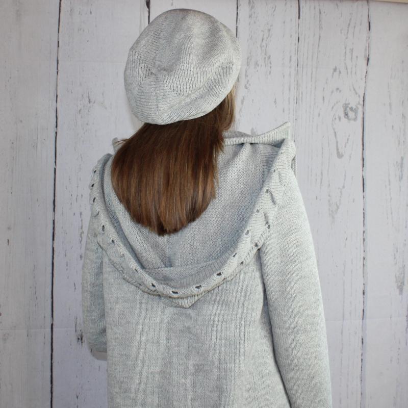 Kleinesbild - Gestrickte Baskenmütze Mütze grau  Damenmütze aus Alpaka