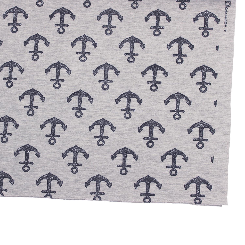 Kleinesbild - Jersey French Terry Glitzer Anker Textil Bekleidungsstoff