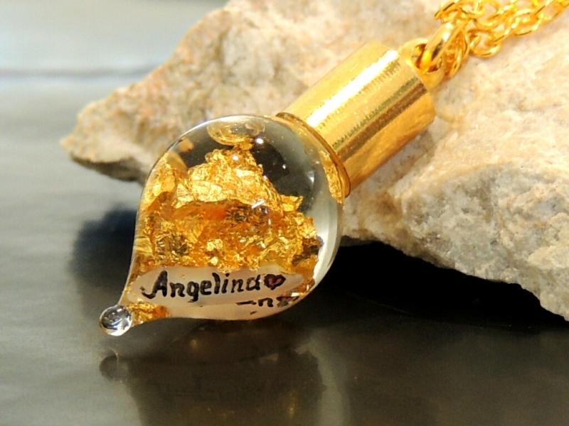 Kleinesbild - Goldkette mit Name Gravur 24 Karat Blattgold-Kette