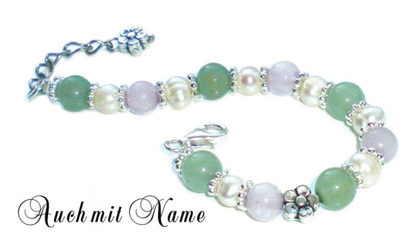 Kleinesbild - Taufarmband ♥ Babyarmband mit Rosenquarz und Aventurin-Perlen