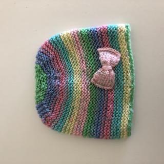 - Babymütze buntgestreift mit rosa Schleife - Babymütze buntgestreift mit rosa Schleife