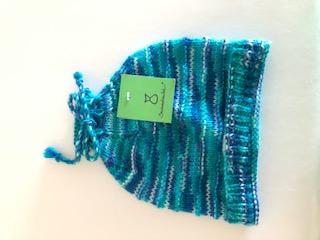 - Blaue gestrickte Kindermütze, Kopfumfang ca. 38cm   - Blaue gestrickte Kindermütze, Kopfumfang ca. 38cm