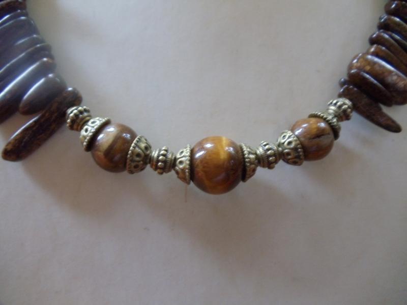 Kleinesbild - Angnes Bronzit Stäbe mit Tigerauge Statement Jewelry