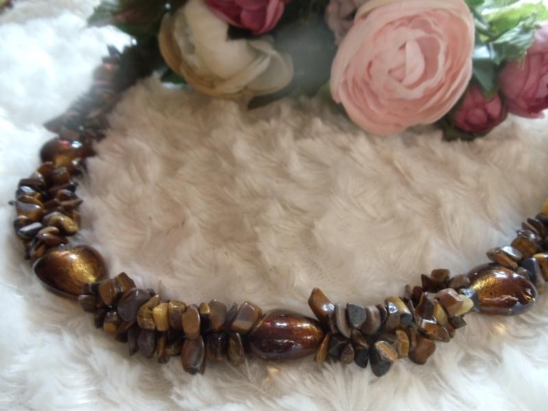 Kleinesbild - Statement Kette Tigerauge mit Lampwork Herzen Jewelry